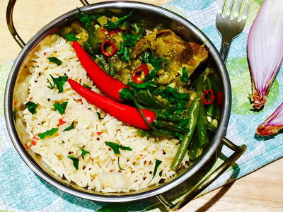 Duck Thai Curry with Fresh Coconut and Lemongrass Infused Rice