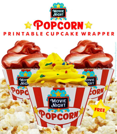 Printable Popcorn Cupcake Wrappers
