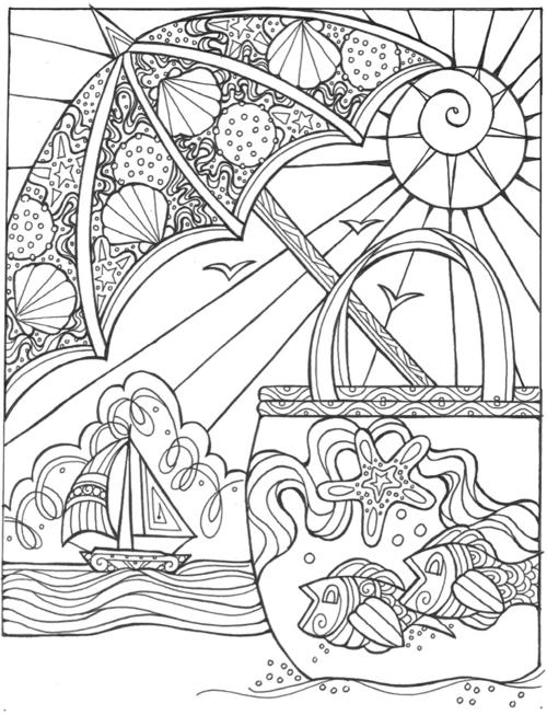 Summer Escape Beach Umbrella Coloring Page
