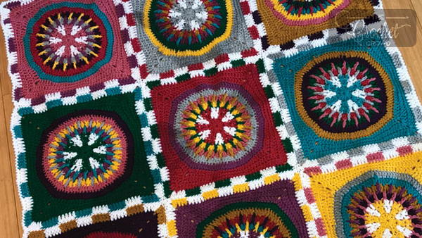 Colorful Poker Chip Granny Square Afghan