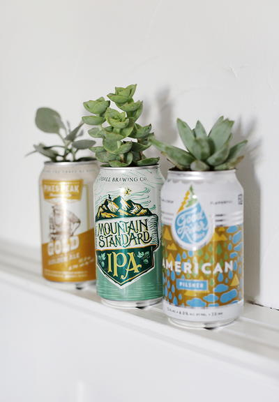 Upcycled Beer Can Planters