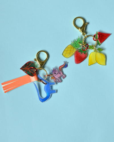 Kids Art Shrink Plastic Key Chain