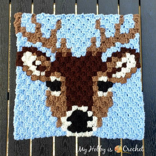Deer Stag C2C Square - Wildlife Graphghan