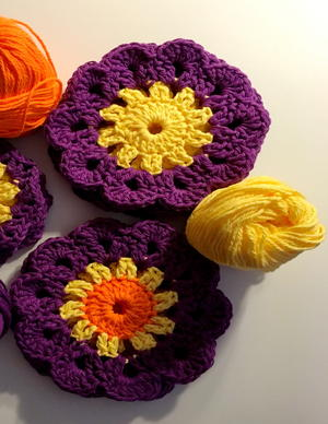 Colorful Crochet Sunshine Coaster Patterns