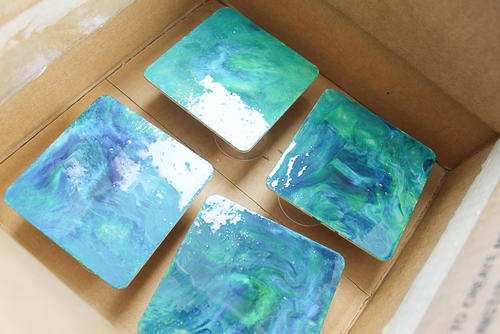 Vibrant Marbled Coasters DIY