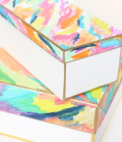 DIY Abstract Painted Storage Boxes