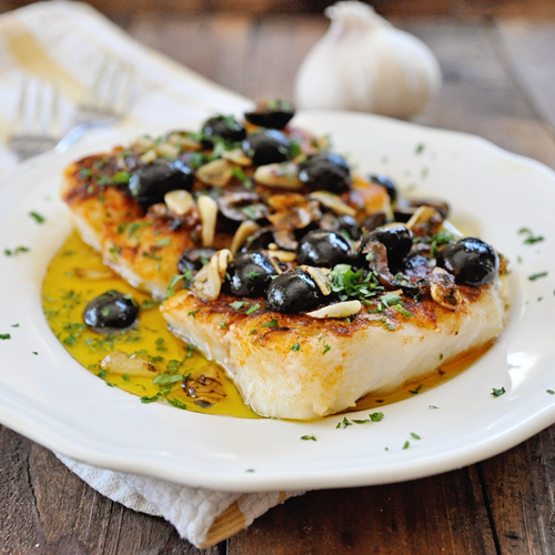 Pan Grilled Paprika Cod with Olives & Garlic