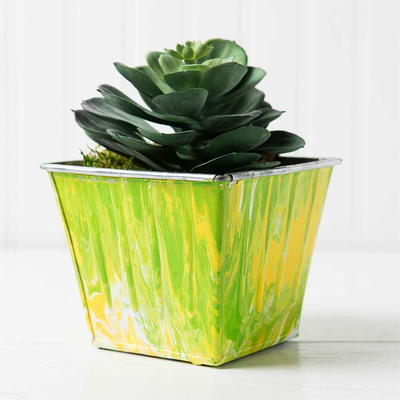 How to Make a Marbled Metal Planter