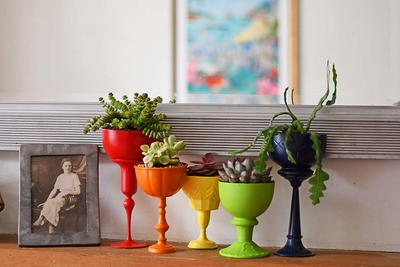 Upcycled Rainbow Planters