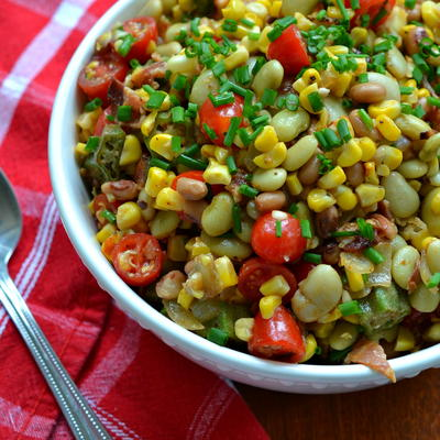 Summer Succotash Recipe with Bacon and Okra