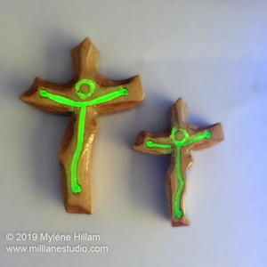 Glow in the Dark Wood and Resin Cross