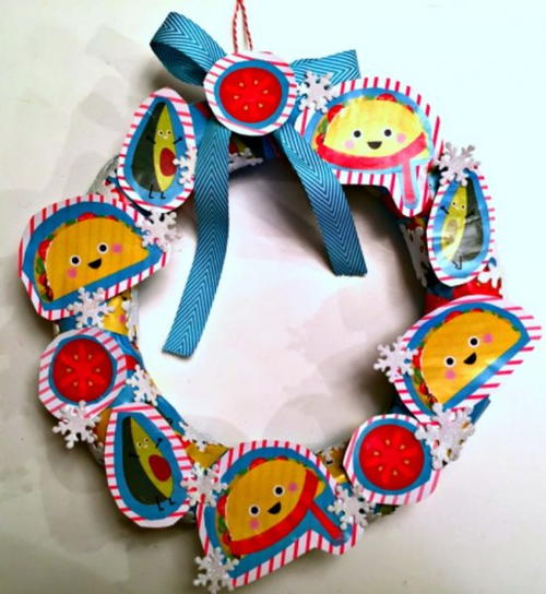 Recycled Gift Wrap Wreath
