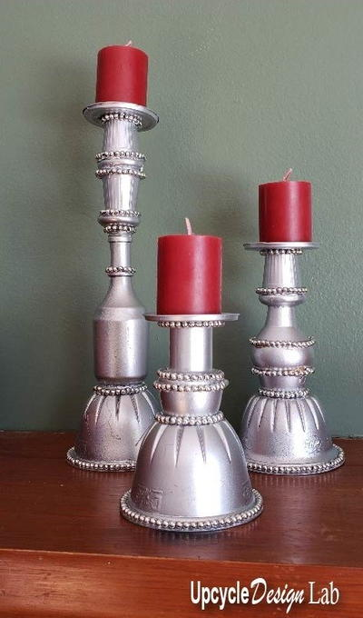 Upcycled Junk Drawer Candlesticks