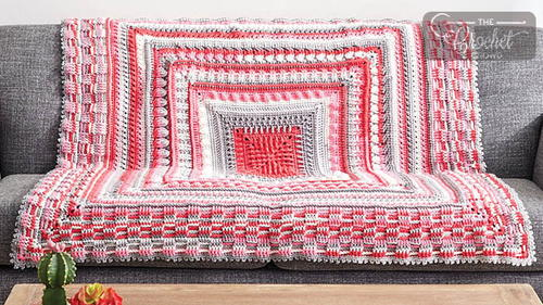 Modern Pink Crochet Throw Pattern