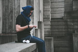 Hooded Blueprint Scarf