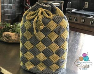 Cute Crochet Drawstring Backpack Bag