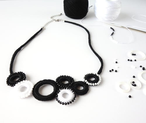 Black and White Beaded Crochet Ring Necklace