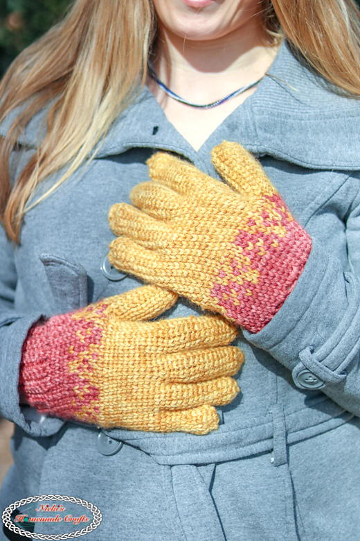 Flying Hearts Gloves - Knit-like Gloves
