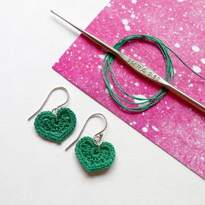 Micro-crochet Heart Earrings