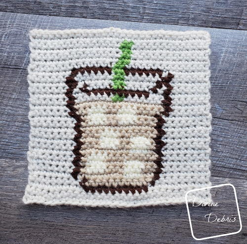 8″ Tapestry Iced Coffee Afghan Square