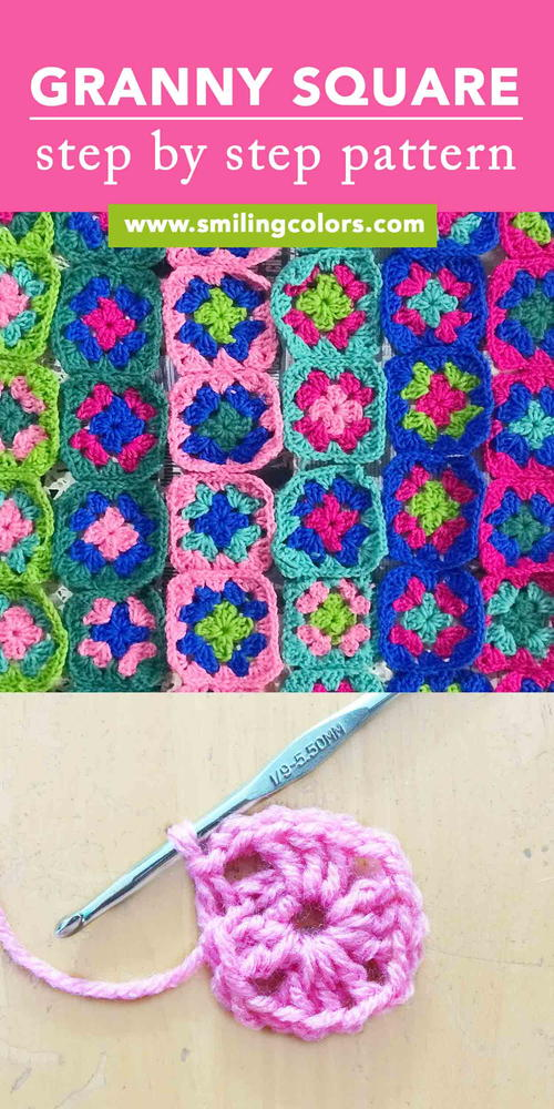 Basic Granny Square Pattern with Step by Step Photos