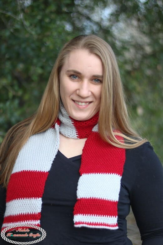 Classic Red and White Crochet Scarf