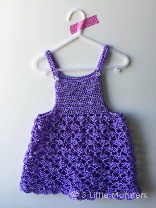 Spring Shell Stitch Girls Crochet Dress