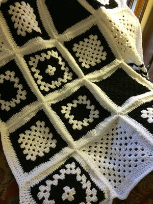 Black and White Granny Square Blanket Throw