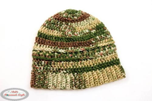 Mens Forest Camouflage Crochet Beanie