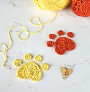 Crochet Heart Paw Print Applique