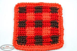 Rustic Red Single Crochet Coaster