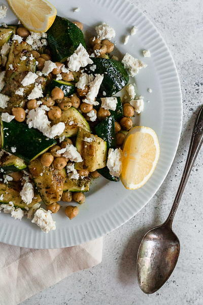 Mediterranean Grilled Zucchini with Chickpeas, Pesto, and Feta