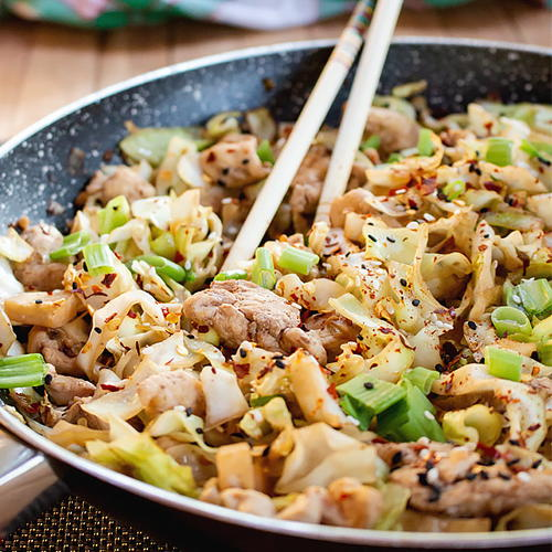 Quick Chicken Cabbage Stir Fry