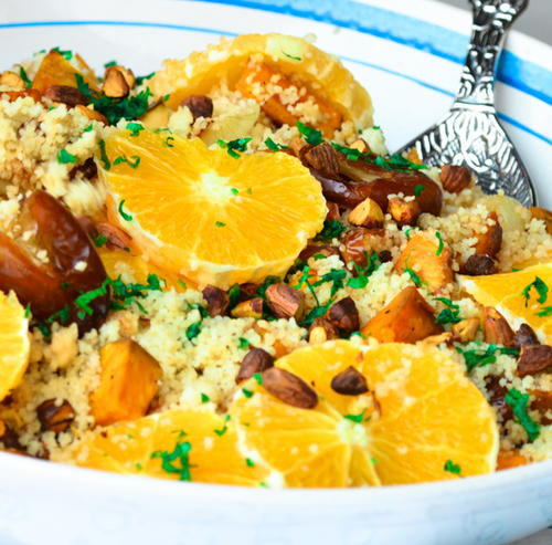 Couscous Salad with Roasted Sweet Potatoes and Fried Dates