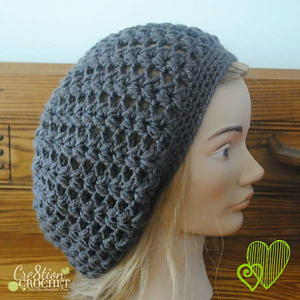 Pewter Puff Stitch Slouchy Hat