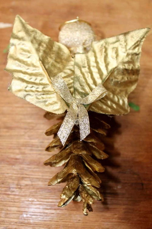 Golden Pine Cone Angel Ornament