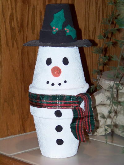Kids Clay Pot Snowman