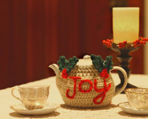 Holiday Greetings Crochet Teapot Cozy