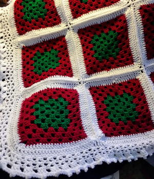 Winter Holiday Season Colors Granny Square Afghan