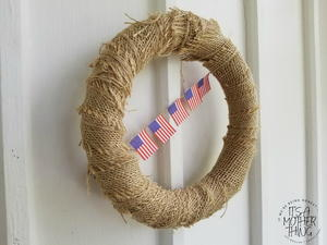 Burlap & Foam Dollar Store Patriotic Flag Wreath