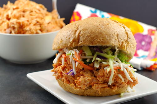 No Cook Buffalo Pulled Chicken Sandwich