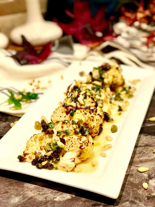 Seriously Good Chunky Roasted Cauliflower with Capers and Raisins Dressing