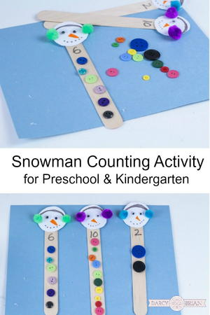 Snowman Button Counting Activity
