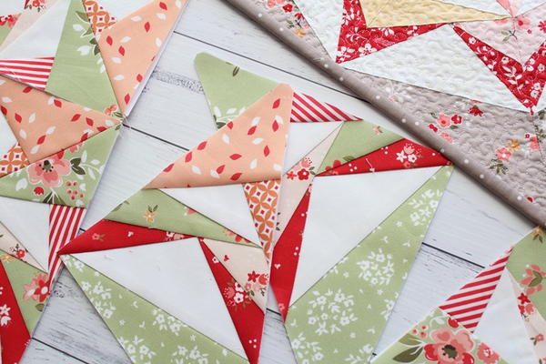 Sewing Inspiration - image shows geometric fabric shapes quilted together.