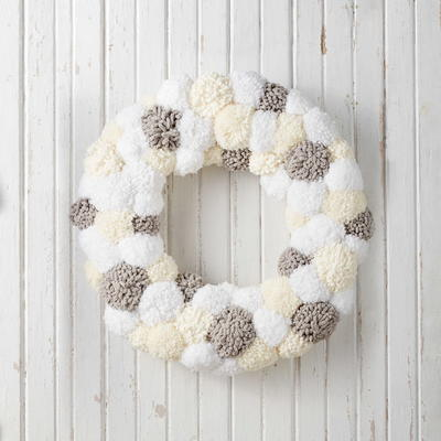 Snowy Pompom Wreath