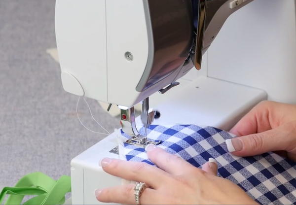 Example of how to sew top stitching.