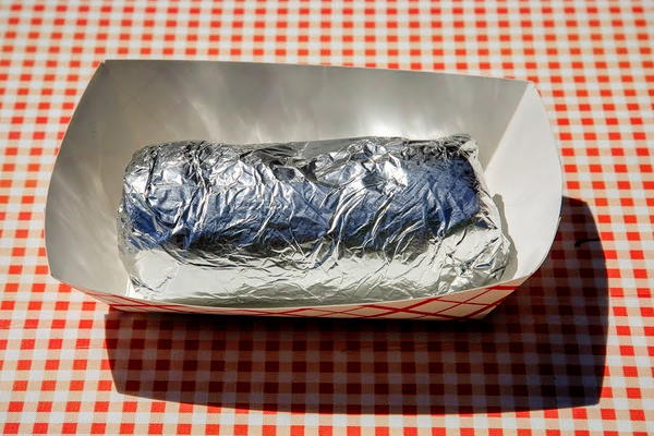 Burrito wrapped in foil