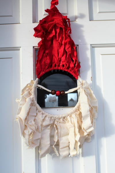 Santa Claus Rag Wreath Door Decor