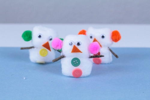 Easy Cotton Ball Snowman Craft for Kids