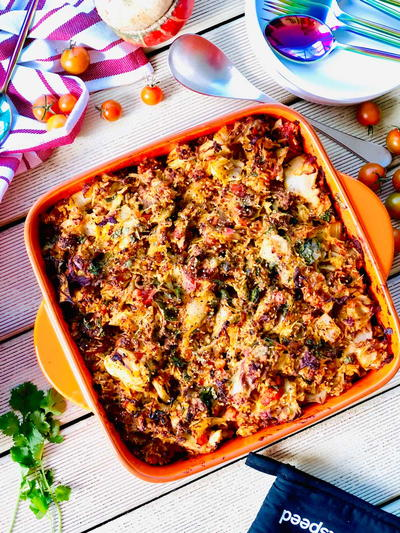 Cabbage Casserole with Beef Mince and Fresh Herbs